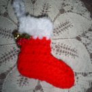 Red Hand Crochet Christmas Stocking Ornament, New, Hand Crochet