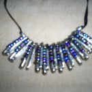 Handmade 22 inch blue irridescent bead, safety pin necklace