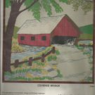 "Vintage Crewel Kit, Covered Bridge  14"" X 14"" Picture or Pillow Top, New"