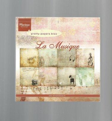 Pretty Paper Bloc, La Musique, 6X6, New, Marianne Design