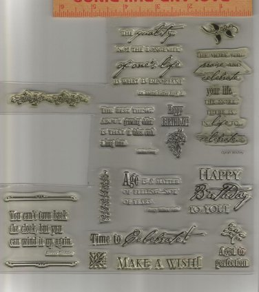 "Set of Over 20 Acrylic Stamps, ""Birthday Sentiments"", New"