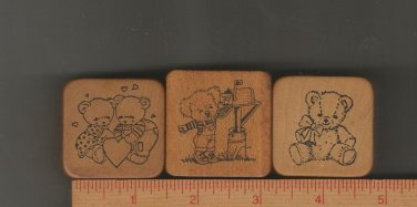 Set of Three Rubber Stamps/Wood Mounts, Co-Motion Stamps