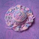 Hand Crochet Doll Hat in Variagated Pastels, New