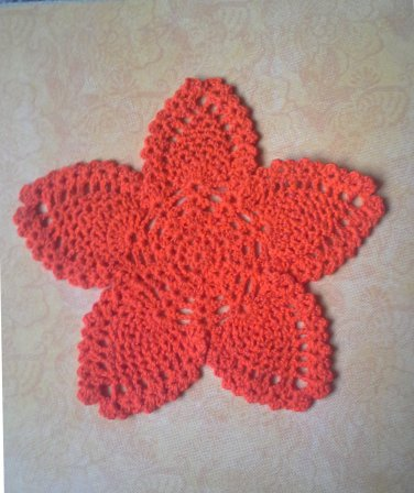 "Hand Crochet Pineapple Doily, 9"", Bright Orange, New"