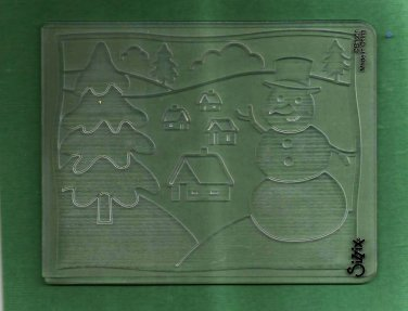 Sizzix Embossing Folder, Snowman Scene, Gently Used