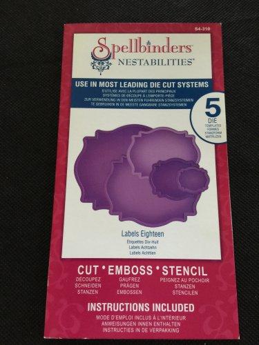 Spellbinders Nestabilities, Labels 18 New, 5 Die templates, S4-310