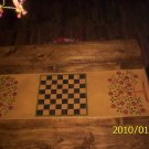 FOLKART PRIMITIVE  FLOOR CLOTH TABLE RUNNER 14X45