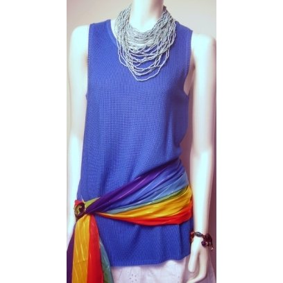New Chico's Blue Pebblestitch Slinky Long Knit Tank Top Tunic NWT 8/10 1