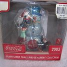 Coca Cola Coke 2003 Christmas Snowman Pearlescent Ornament  - NIB - FREE SHIPPING