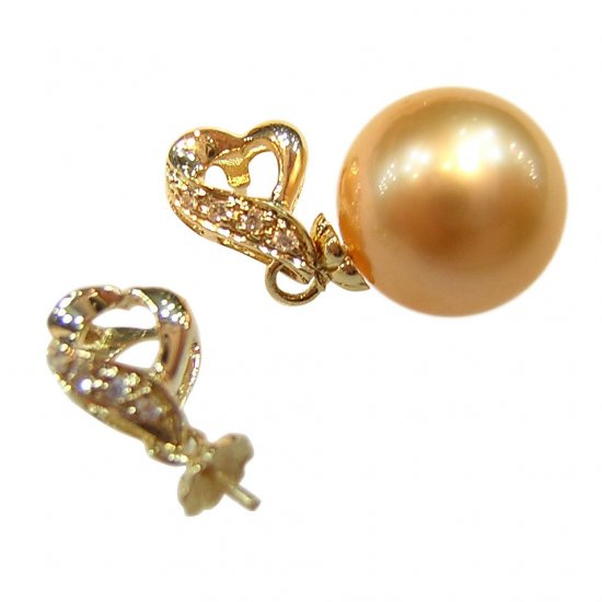 14K Gold 10-11mm Golden South Sea Pearl Earrings SEGG-301011003