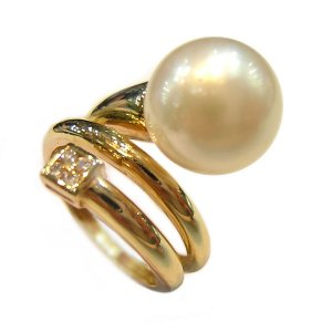 14K Gold 10-11mm White South Sea Pearl Ring SRGW-301011030