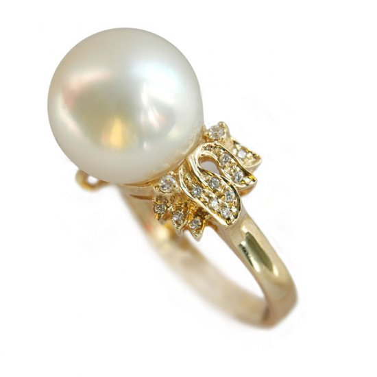 14K Gold 10-11mm White South Sea Pearl Ring SRGW-301112031