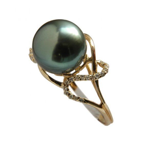 14K Gold 10-11mm Black South Sea Pearl Ring SRGB-301011021