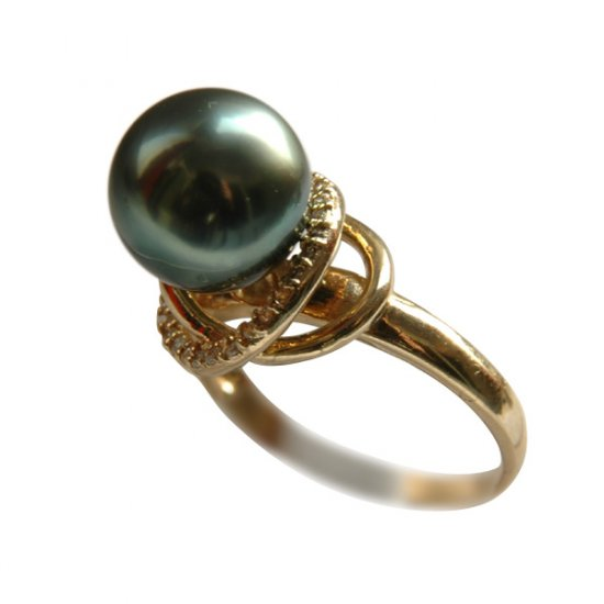 14K Gold 10-11mm Tahitian South Sea Pearl Rings SRGB-301011026