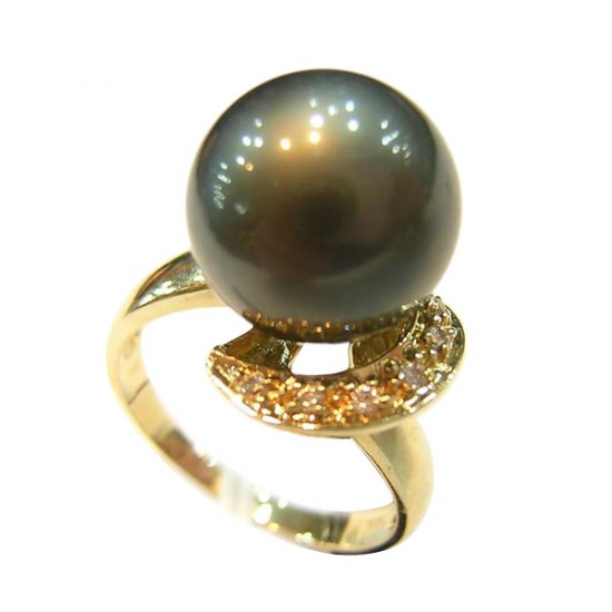 14K Gold 11-12mm Tahitian South Sea Pearl Ring SRGB-301112018