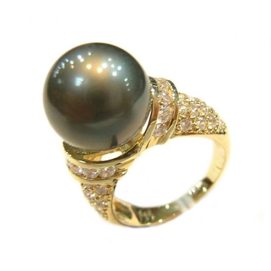 14K Gold 11-12mm Tahitian South Sea Pearl Ring SRGB-301112019