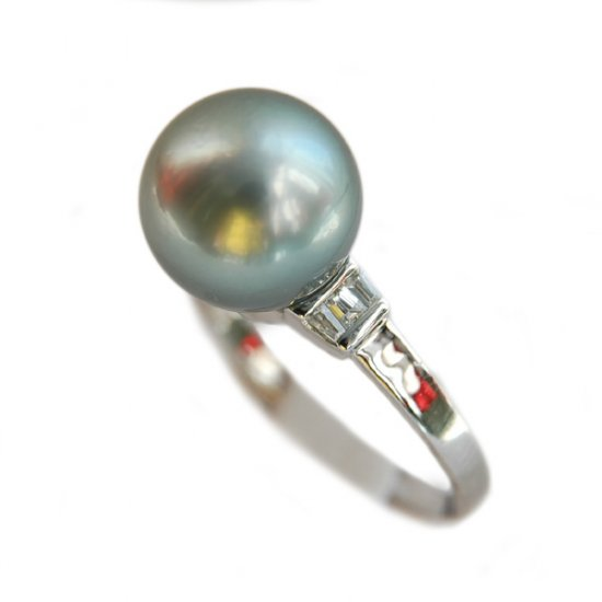 14K Platinum 10-11mm Tahitian South Sea Pearl Ring SRWB-301011024