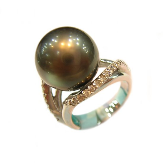 14K Platinum 11-12mm Tahitian South Sea Pearl Ring SRWB-301112015