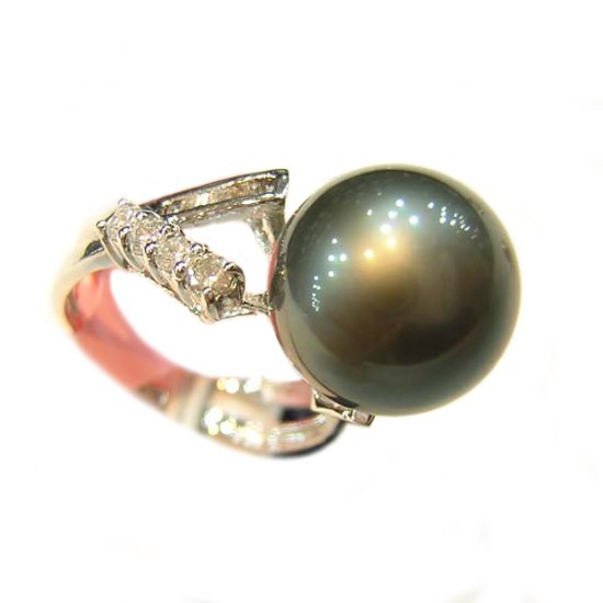 14K Platinum 11-12mm Tahitian South Sea Pearl Ring SRWB-301112017