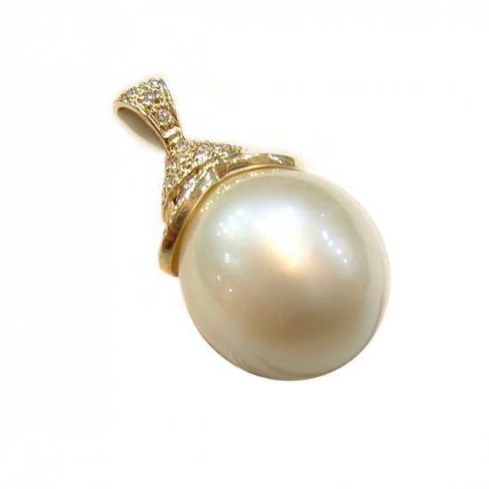14K Gold 12-14mm Ellipse Shape Tahitian South Sea Pearl Pendants SPGW-301213041-T