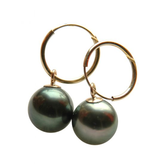 14K Gold 8-9mm Tahitian South Sea Pearl Earrings SEGB-300809010