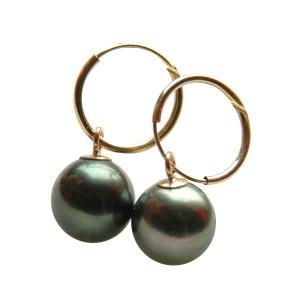 14K Gold 8-9mm Tahitian South Sea Pearl Earrings SEGB-300809010