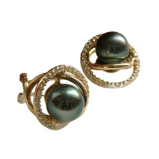 14K Gold 8-9mm Tahitian South Sea Pearl Earrings SEGB-300809012