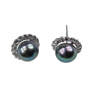 14K Platinum 8-9mm Tahitian South Sea Pearl Earrings SEWB-300809007