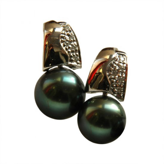 14K Platinum 8-9mm Tahitian South Sea Pearl Earrings SEWB-300809011