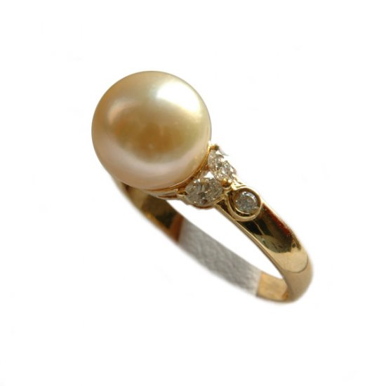 14K Gold 9-10mm Golden South Sea Pearl Ring SRGG-300910012z