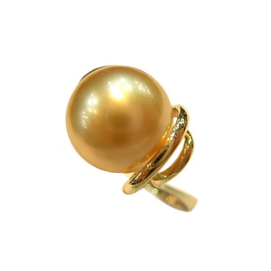 14K Gold 10-11mm Golden South Sea Pearl Rings SRGG-301011001