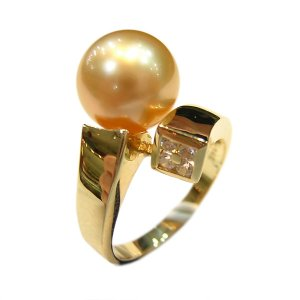 14K Gold 10-11mm Golden South Sea Pearl Ring SRGG-301011009z