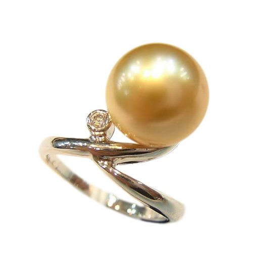 14K Platinum/Gold 10-11mm South Sea Pearl Ring SRWG-301011011