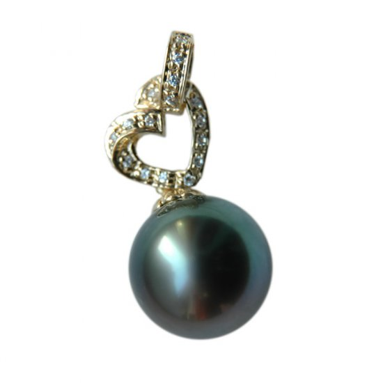 14K Gold 12-13mm Tahitian South Sea Pearl Pendants SPGB-301213016