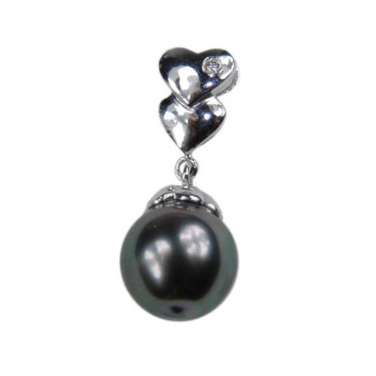 14K Platinum 10-11mm Tahitian South Sea Pearl Pendants SPWB-301011021