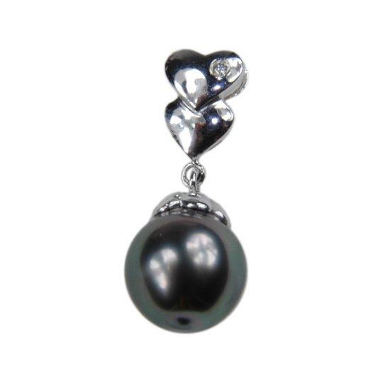 14K Platinum 10-11mm Tahitian South Sea Pearl Pendants SPWB-301011021