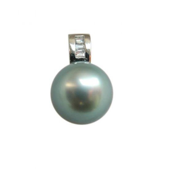 14K Platinum 10-11mm Tahitian South Sea Pearl Pendants SPWB-301011023
