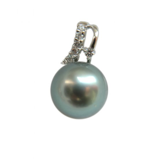 14K Platinum 10-11mm Tahitian South Sea Pearl Pendants SPWB-301011025