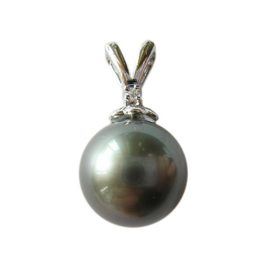 14K Platinum 10-11mm Tahitian South Sea Pearl Pendants SPWB-301112001