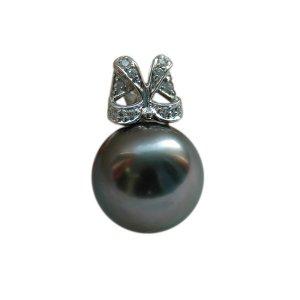 14K Platinum 11-12mm Tahitian South Sea Pearl Pendants SPWB-301112027