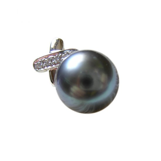 14K Platinum 11-12mm Tahitian South Sea Pearl Pendants SPWB-301112028