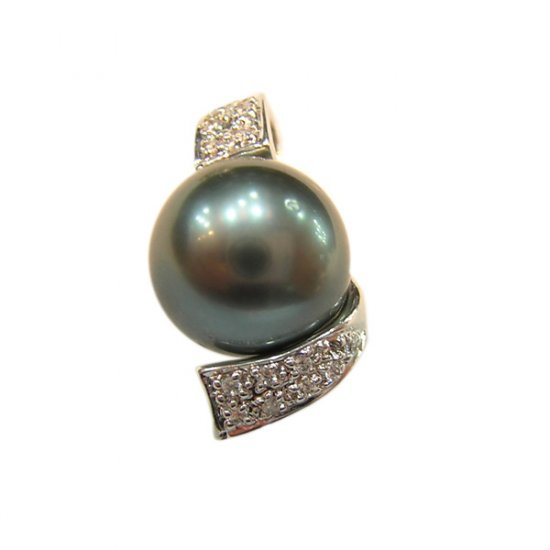 14K Platinum 11-12mm Tahitian South Sea Pearl Pendants SPWB-301112029