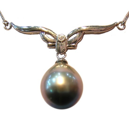 14K Platinum 11-12mm Tahitian South Sea Pearl Pendants SPWB-301112030