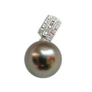 14K Platinum 11-12mm Tahitian South Sea Pearl Pendants SPWB-301213005