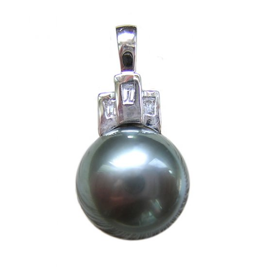 14K Platinum 12-13mm Tahitian South Sea Pearl Pendants SPWB-301213034