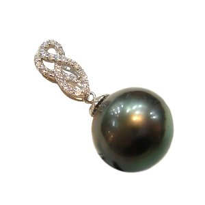 14K Platinum 12-13mm Tahitian South Sea Pearl Pendants SPWB-301213036