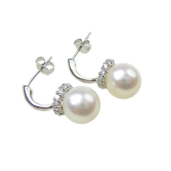 14K Gold 9-10mm Round Freshwater Pearl Earrings FEWW-300910016