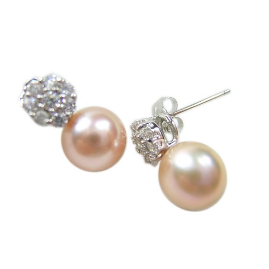 14K Gold 7-8mm Round Freshwater Pearl Earrings  FEWP-300708014