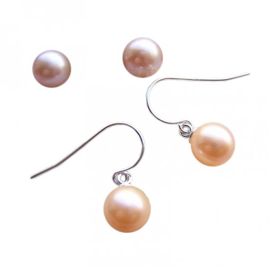 14K Gold 7-8mm Round Freshwater Pearl Earrings  FEWP-300708008