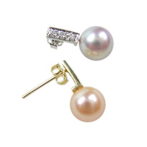 14K Gold 7-8mm Round Freshwater Pearl Earrings  FEGPPU-300708012